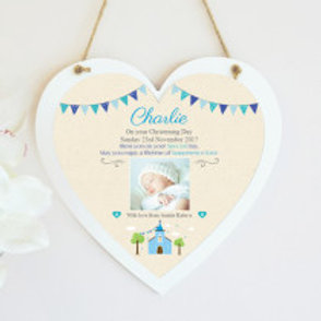 Christening / Holy Communion Hanging Heart  - Boy - Photo & Text