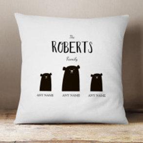 Bear Family of 3 (1 Adult 2 Children)  - Velvet Cushion - Names Only