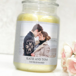 Grey - Bottle / Candle Label - Photo & Text
