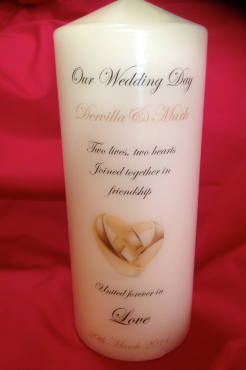wedding candles rings - personalised - Large