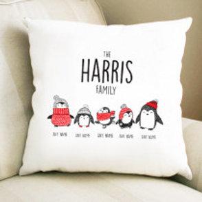 Penguin Family of 5 - Velvet Cushion - Names Only