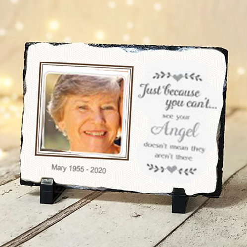 (LARGE SLATE) Just because Angel memorial -20cm x 30cm