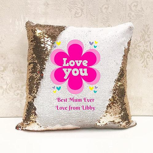 Love You Sequin Cushion