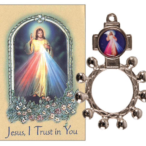 Divine Mercy - Rosary Ring & Booklet