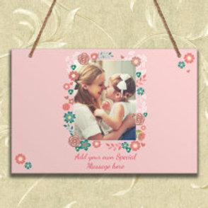 Pink Floral - Metal Hanging Sign - Photo & Text