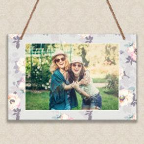 Grey Floral - Metal Hanging Sign - Photo