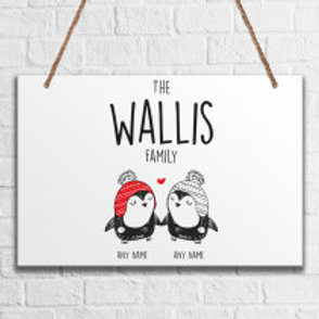 Penguin Couple - Metal Hanging Sign - Name Only