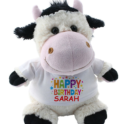 Personalised Cow Teddy Happy Birthday