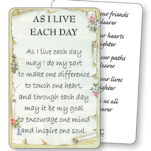 As I Live Each Day - Mini Card