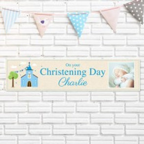 Christening Blue Banner - Name & Photo