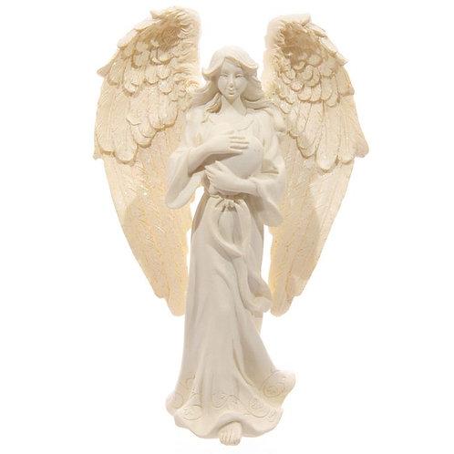 Cream Standing Angel - Holding Heart