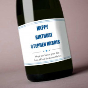 Birthday Blue - Bottle / Candle Label - Name