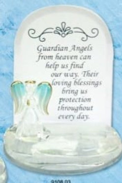 Guardian Angel - Glass Plaque (Blue)