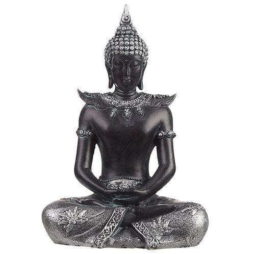 Thai Buddha Figurine Black & Silver – Serenity