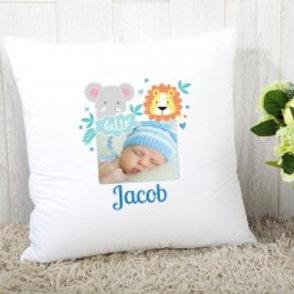 Baby Boy Jungle - Velvet Cushion - Name & Photo