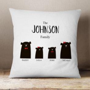 Bear Family of 4 (1 Boy 1 Girl)  - Velvet Cushion - Names Only