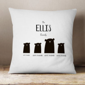 Bear Family of 4 (1 Adult 3 Children)  - Velvet Cushion - Names Only