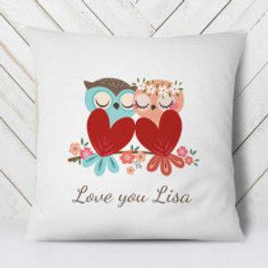Owl Heart Couple - Velvet Cushion - Names Only