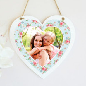 Light Blue Floral - Hanging Heart  - Photo Only