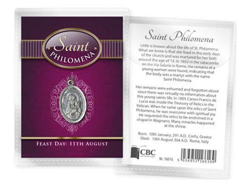 Saint Philomena - Medal (Oxidised) & Leaflet