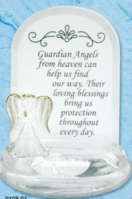 Guardian Angel - Glass Plaque (White)