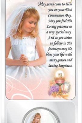 Communion Coin & Prayer Card (Girl)