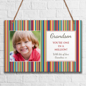 Grandson - Metal Hanging Sign - Photo & Text