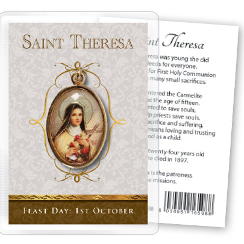 Saint Theresa - Gilt Medal (Gold) & Leaflet