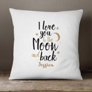 Love you to the Moon - Velvet Cushion - Name Only