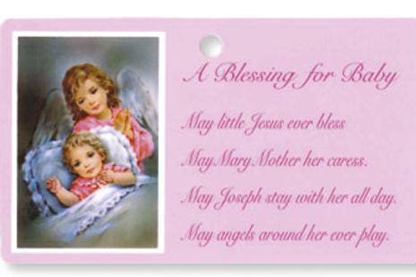 Baby Blessing Pocket Size Laminate  - Girl