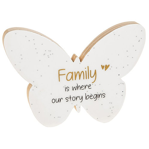 Family -Glitter Words Butterfly Plaque