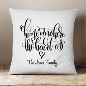 Home is where the heart is - Velvet Cushion - Family Name Only