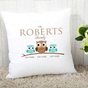 Owl Family of 3 ( 1 Adult 2 children) - Velvet Cushion - Names Only