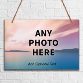 Metal Hanging Sign - One Photo & Text