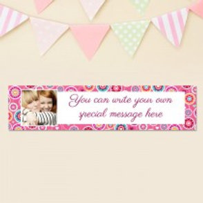 Pink Flower Pattern Banner - Text & Photo