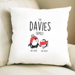 Penguin Family of 2 - Velvet Cushion - Names Only