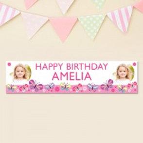 Birthday Banner Pink Banner - Name & Photo