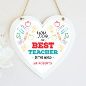 Best Teacher Hanging Heart -  Name Only