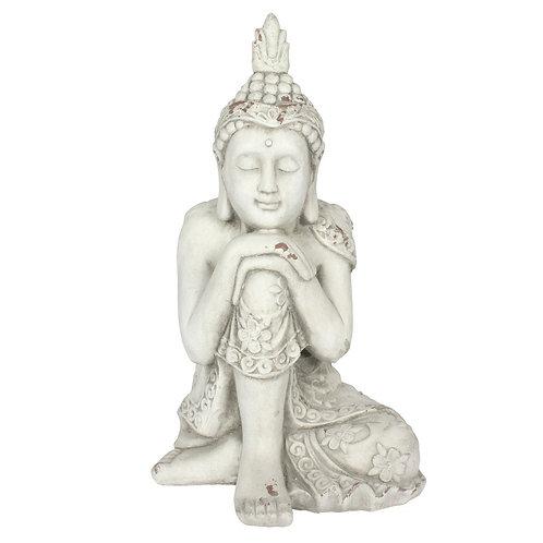 White Hands on knee Garden Buddha