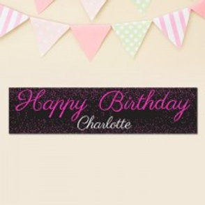 Pink Glitter Birthday Banner - Name Only