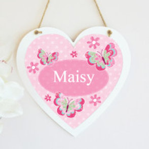 Butterfly - Hanging Heart  - Name Only