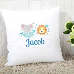 Baby Boy Jungle - Velvet Cushion - Name Only
