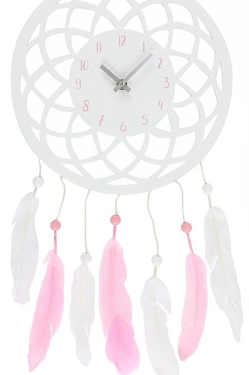 White & Pink Dreamcatcher Clock