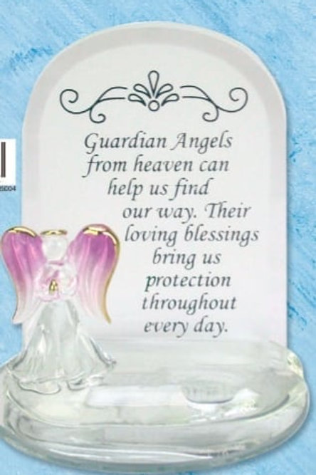 Guardian Angel - Glass Plaque (Purple)