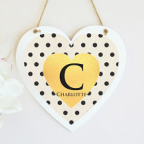Polka Dot Hanging Heart -  Name Only