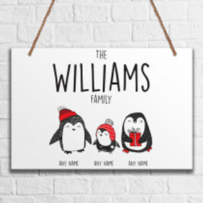 Penguin Family of 3 - Metal Hanging Sign - Name Only