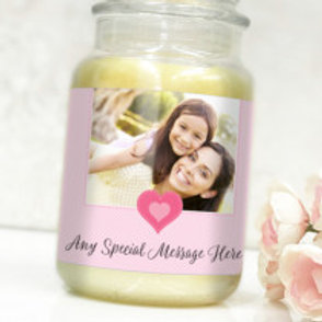 Pink Heart Bottle / Candle Label -  Photo & Text