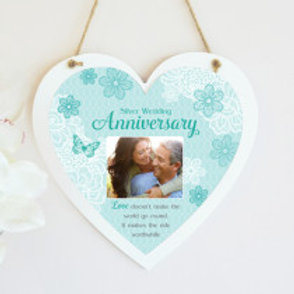 Silver Wedding Anniversary Hanging Heart  - Photo