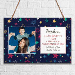 Nephew - Metal Hanging Sign - Photo & Text
