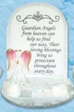Guardian Angel - Glass Plaque (Pink)